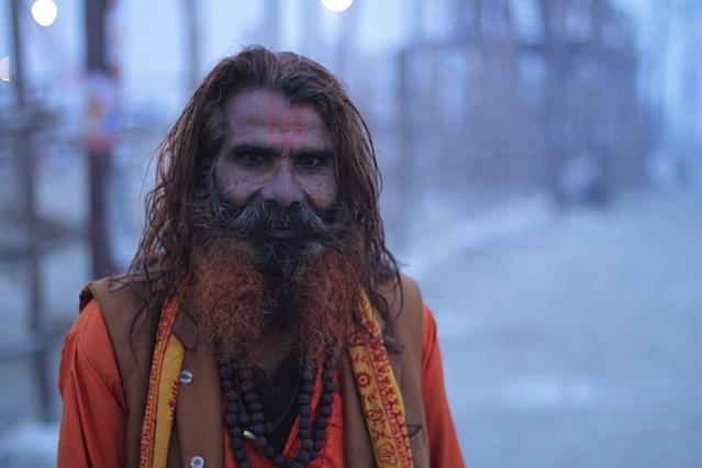 Pilgrim sporting a henna-dyed beard.